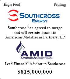 Southcross Energy has agreed to merge and sell certain assets to American Midstream Partners, LP - $815,000,000