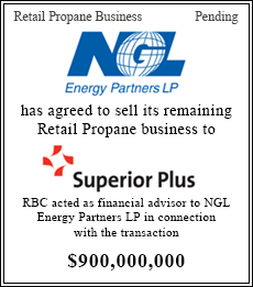 NGL has agreed to sell its remaining Retail Propane business to Superior Plus - $900,000,000